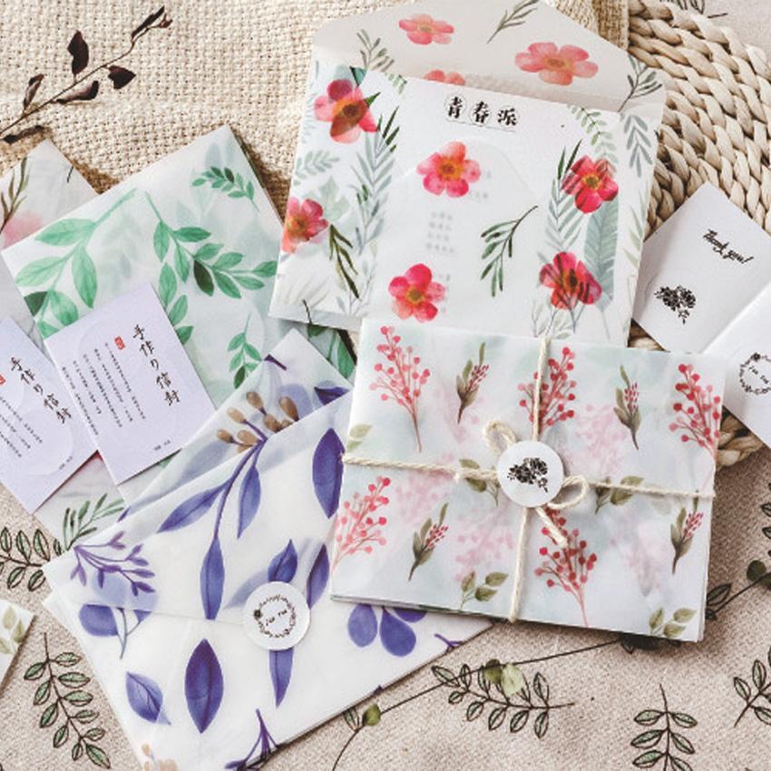 Dört Mevsim Gibi 3 adet / grup Sülfürik Asit Kağıt Zarf Okul Malzemeleri Zarf Düğün Mektup Davetiye için