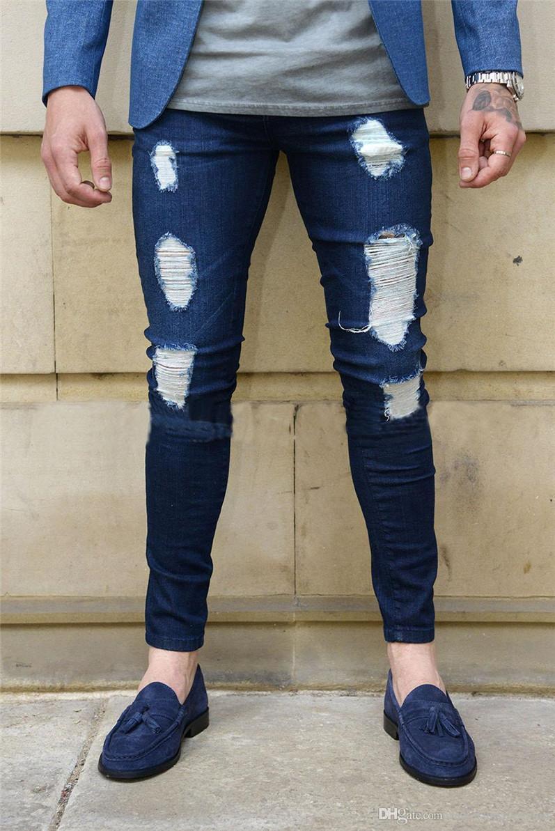 Mode Hommes Skinny Jeans Rip Slim adapter en denim extensible détresse effilochés Biker Jeans Garcons motifs brodés Crayon Pantalons