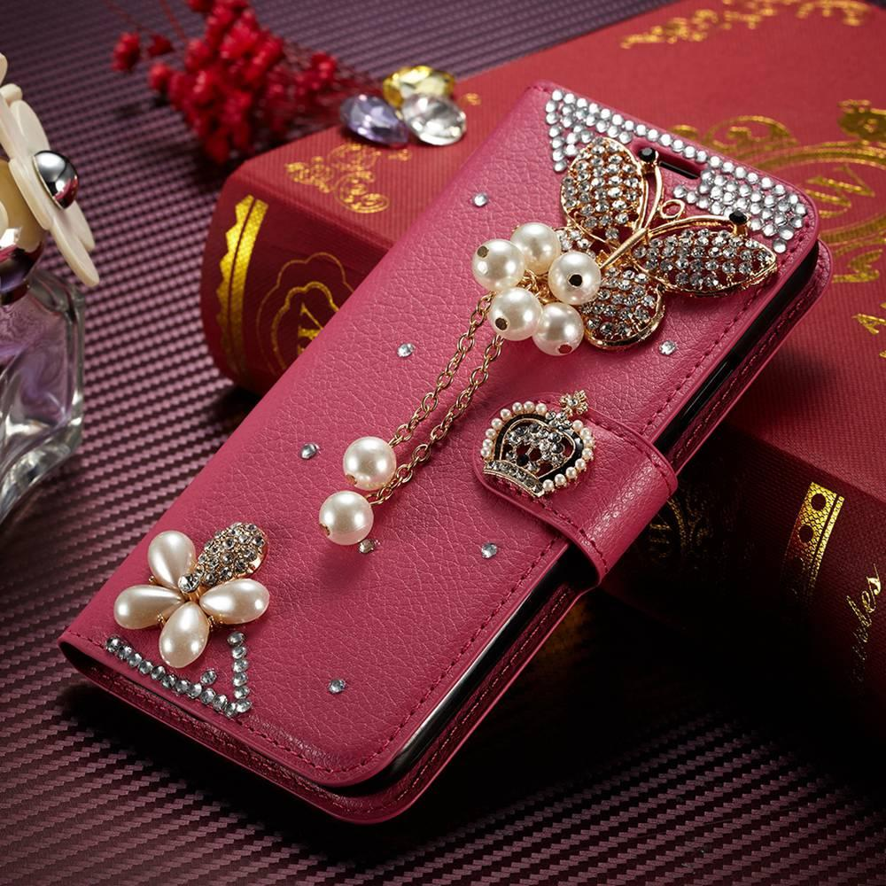 Fundas sFor iPhone 4s Case Muxma Luxury Rhinestone Cover For Apple iPhone4 Pink PU Leather Coque Glitter Crystal Diamond Cases