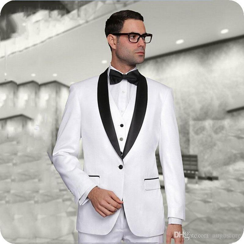Men Suits For Wedding White Black Groom Wear Custom Made Evening Party Bridegroom Slim Fit Formal Tuxedos Best Man Blazer Man Jacket 3Pieces