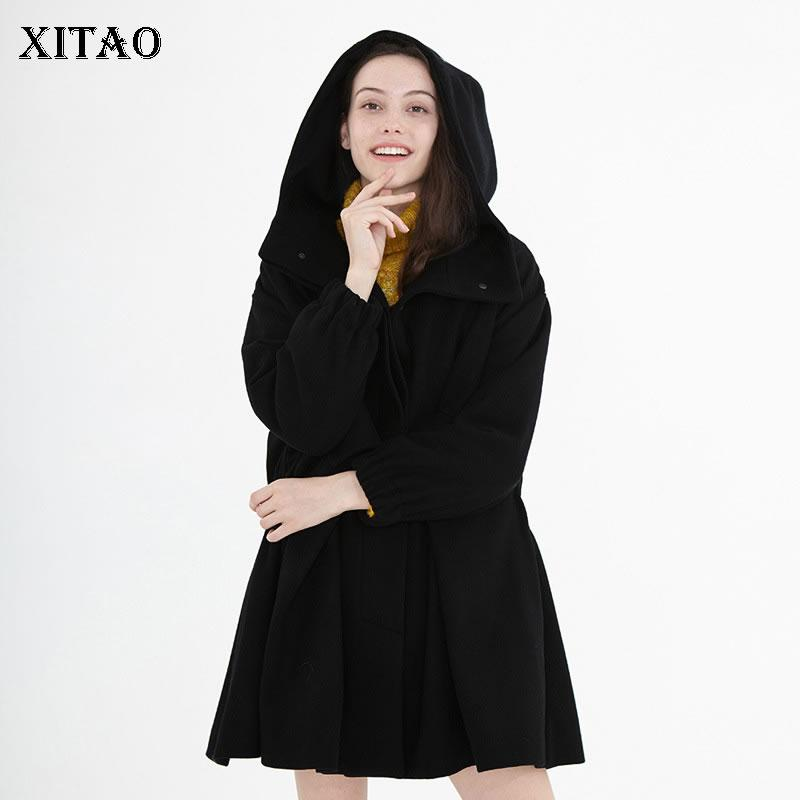 XITAO Pleated Black Blends Women Fashion New 2019 Autumn Elegant Plus Size Pocket Single Breast Small Fresh Loose Blends GCC2488