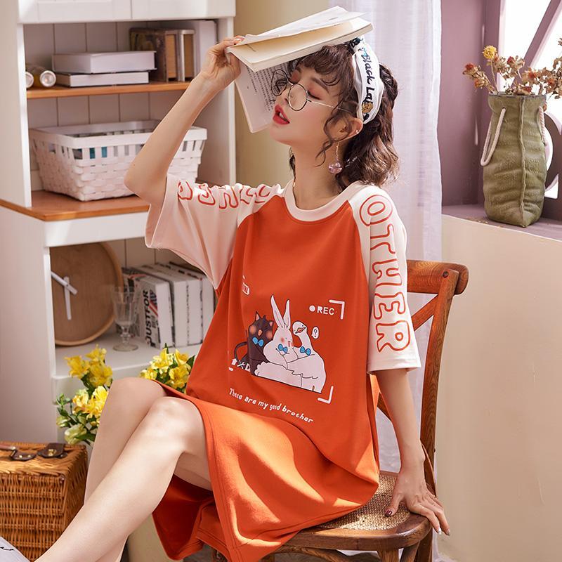 cartoon cute estudante menina de manga curta serviço de casa fina feminina verão camisola