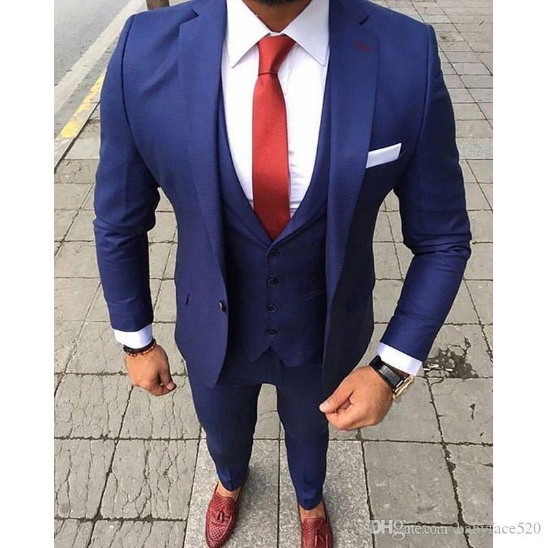 블루 정장 남성 조끼 하나 개의 버튼을 결혼식 신랑 턱시도 슬림핏 남성 의류 세 조각 재킷 바지 정장