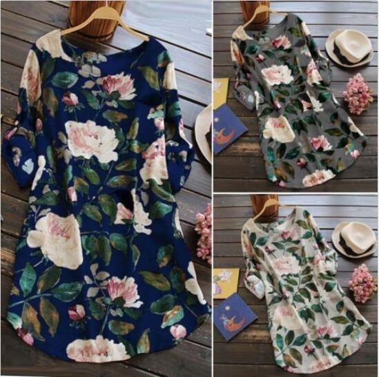 Женское мини-платье с цветочным принтом Summer Party Long Shirt Dress Plus Размер