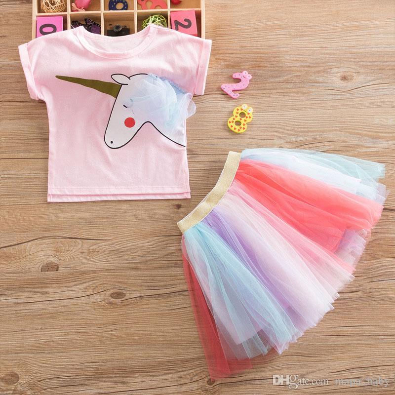 Kids Girls Unicorn Pink T-shirt Tutu Rainbow Falda Vestidos Trajes 2019 Verano Moda Niños Ropa Kid Girl Princesa Vestido de ropa