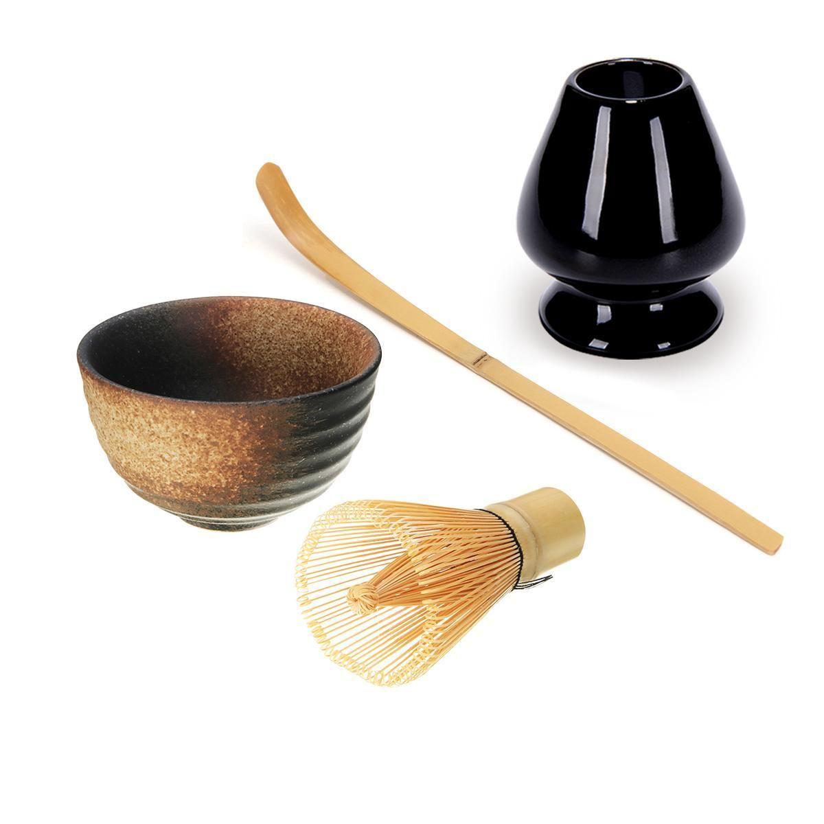 Style A Matcha C/ér/émonie traditionnelle Ensemble Giftset bambou Fouet Matcha Scoop Ceremic Matcha Bowl Holder Sets de th/é japonais