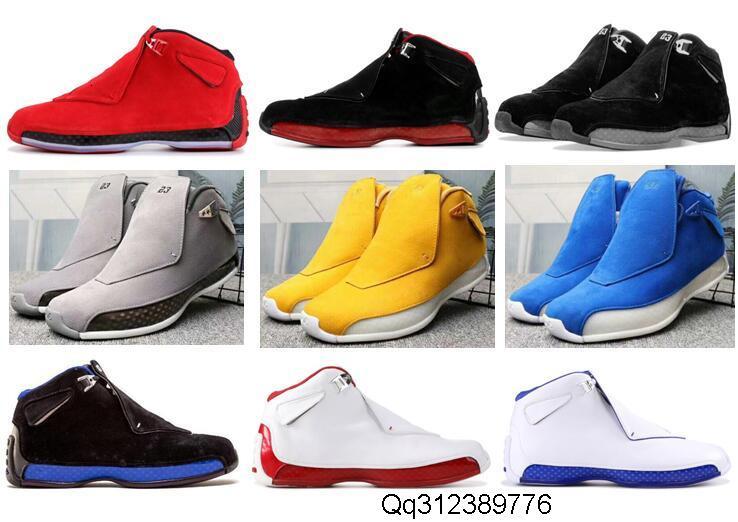 Alta qualità 18 Toro Rosso camoscio grigio Blu Giallo Arancione Suede Shoes di pallacanestro degli uomini di 18 anni Bred Olimpiadi ASG Nero Bianco Sneakers con la scatola