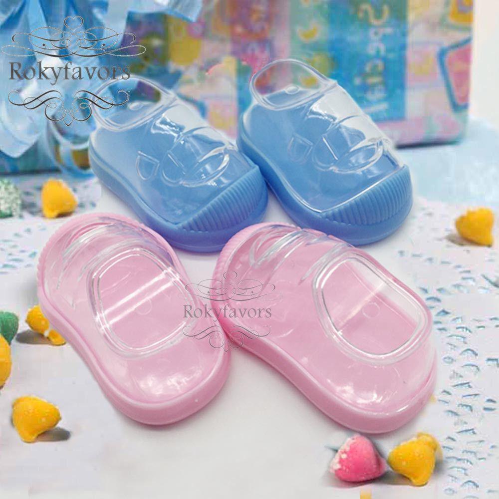 100PCS Acrylique bébé bottillons Bonbonnière baby shower Party Favors Baptême Réception Table Decors Holder Chaussures bébé Party Supplies enfants