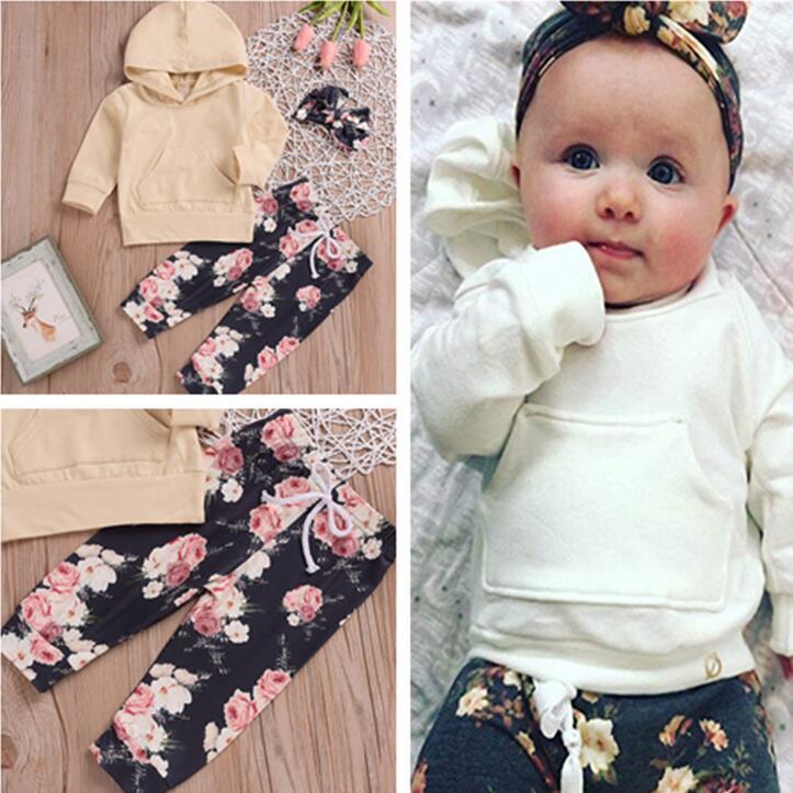Детские Девушки Цветы Tracksuit Младенческая с длинным рукавом с капюшоном Толстовка Цветочные брюки с оголовьем Бутик детской одежды для малышей 3шт нарядах CZ227