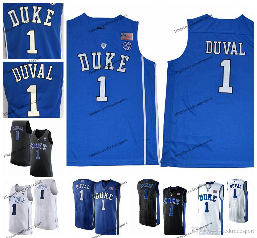 Mens anpassen Trevon Duval Duke Blue Devils College-Basketball-Trikots anpassen New Blue Günstige # 1 Trevon Duval Genähte Shirts S-XXL