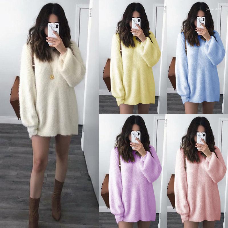 Manga comprida cor sólida Womens Crew Neck Blusas Plus Size Womens Casual camisolas designer de roupas das mulheres