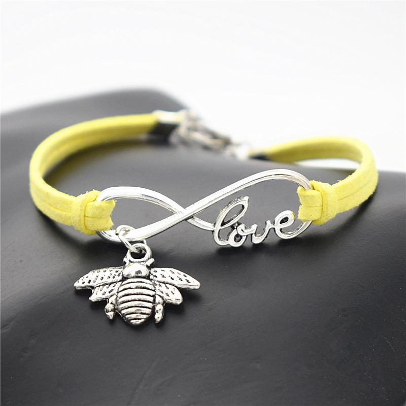 يدويا مزين الأصفر حبل جلدي لفاف سوار سحر أساور أزياء النساء الرجال الفضة إنفينيتي الحب النحل لطيف عسل النحل مجوهرات هدية