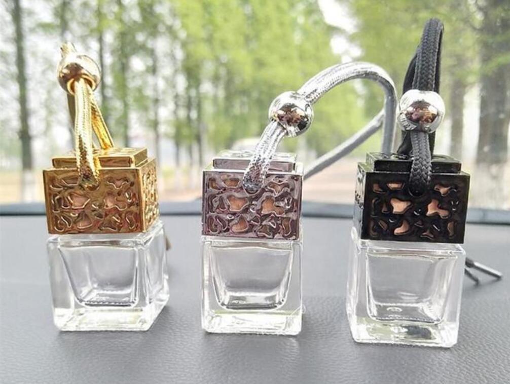 NOVO Cube frasco de perfume carro pendurado Perfume retrovisor ornamento Air Freshener para óleos essenciais Difusor Fragrance Frasco de vidro vazio
