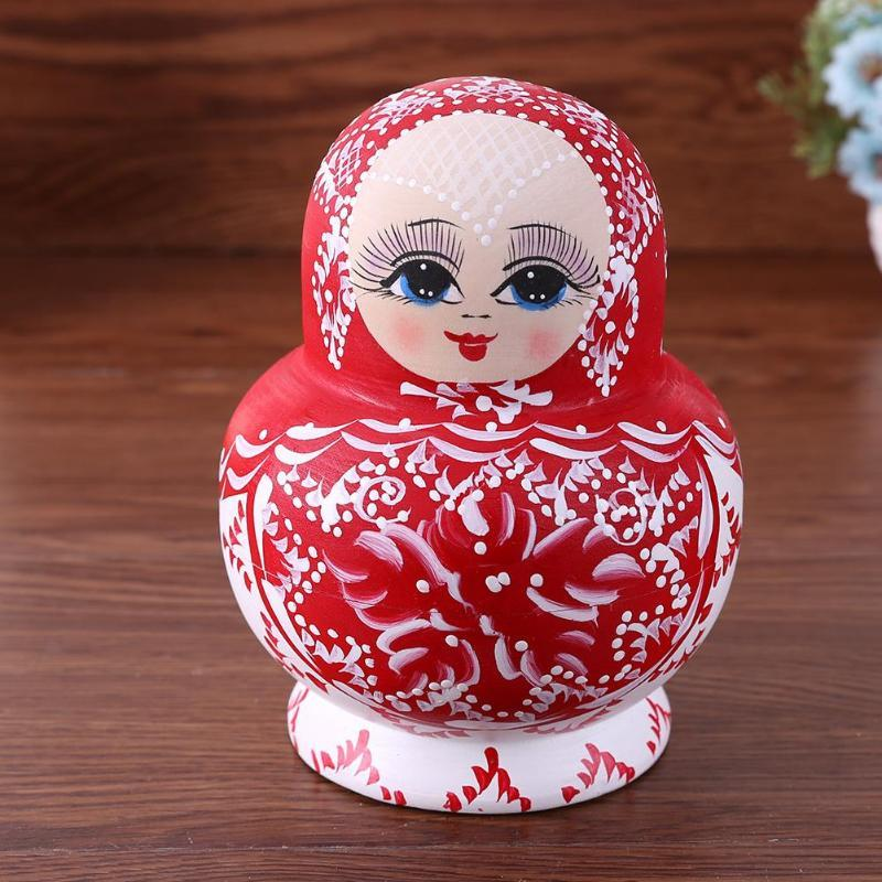 Set di 10 bambole russe matrioska nidificazione in legno classico realizzato