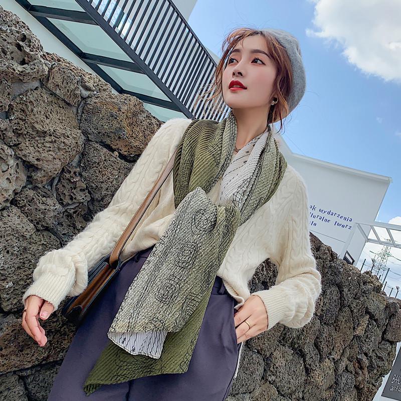 2019 Sonbahar ve kış Doğu kapısı kırışık rengi uzun pamuklu eşarp şal çift kullanım bayanlar lüks hediye notları