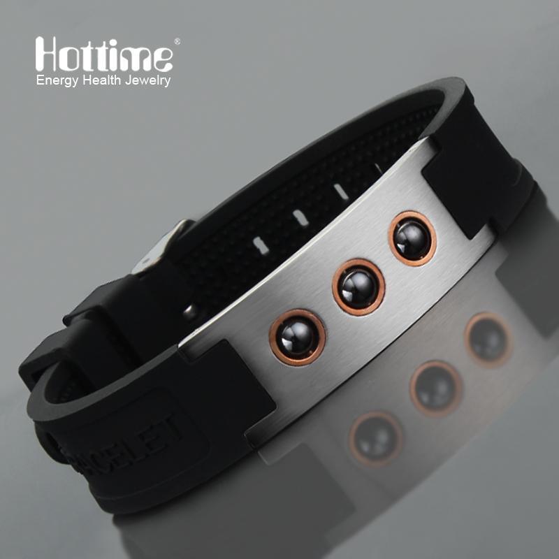 Hottime Multicolor Power 1000 Ions Sports Titanium Steel Bracelet Wrist Band Improve Sleeping 4in1 Energy Bracelets Bangle 20010 Y19051101