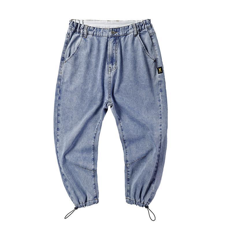 Erkek Kot Basit Uzun Genç Erkekler Yaz Gevşek Marka Pantolon Büyük Boy Moda Trend Adam