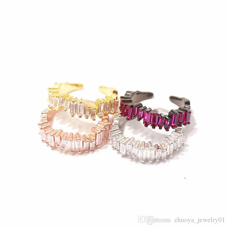 Beautiful sparkling rectangular diamond ring irregularly arranged open C ring brand designer jewelry wedding ring for women