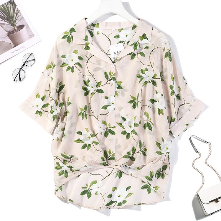 Kadın% 100 Saf İpek Üst Gömlek Bluz Gevşek Casual Düğme Kısa kollu Boyut M L JN050