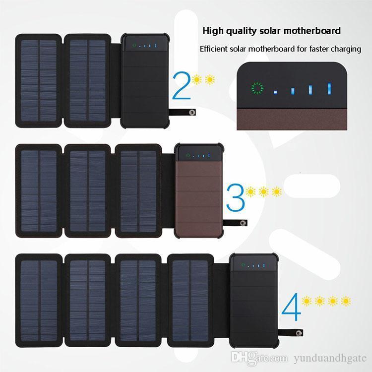 E 20000mAh Solar водонепроницаемый зарядное устройство Solar Power Bank Внешняя батарея резервного копирования пакета для сотового телефона таблетки для Iphone Random Color