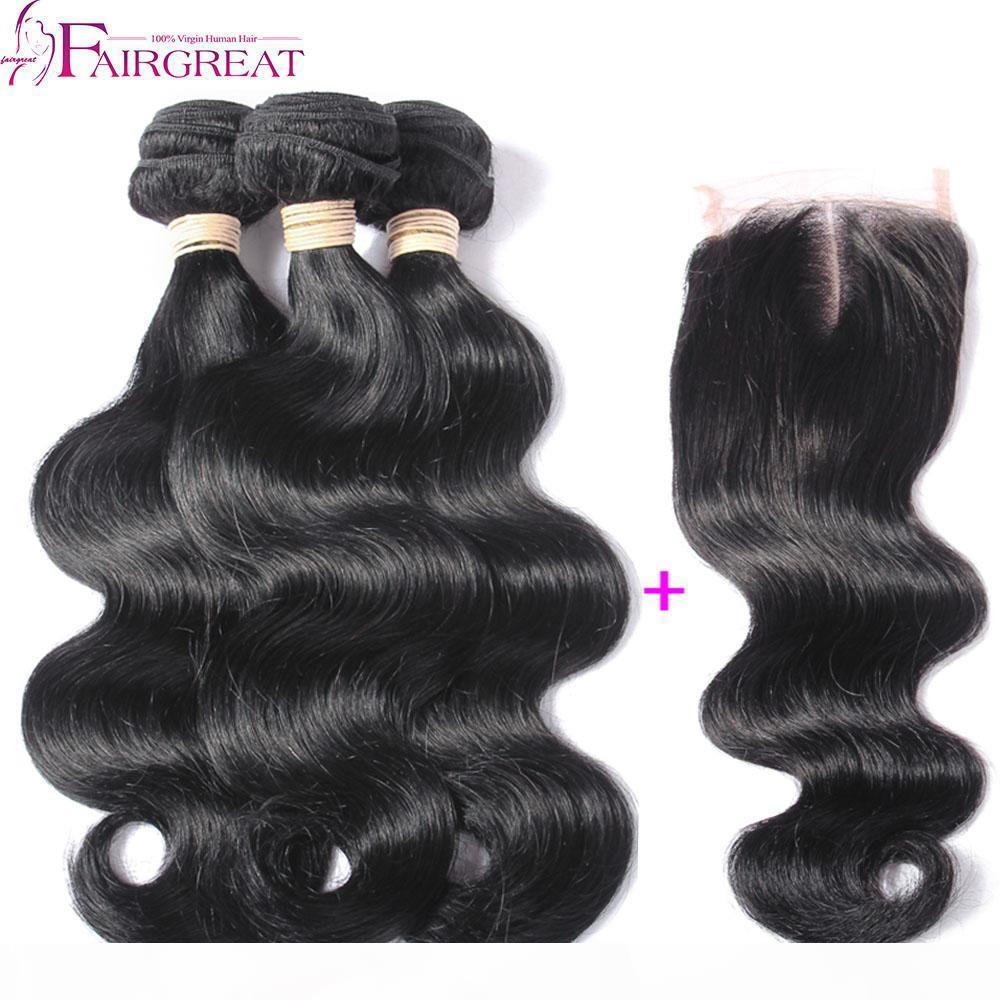 ermesiyle birlikte Kapatma Remy Brezilyalı Virgin Saç Kapatma 3Bundles Brezilyalı İnsan saç örgüleri ile Brezilyalı Vücut Dalga saç örgüleri