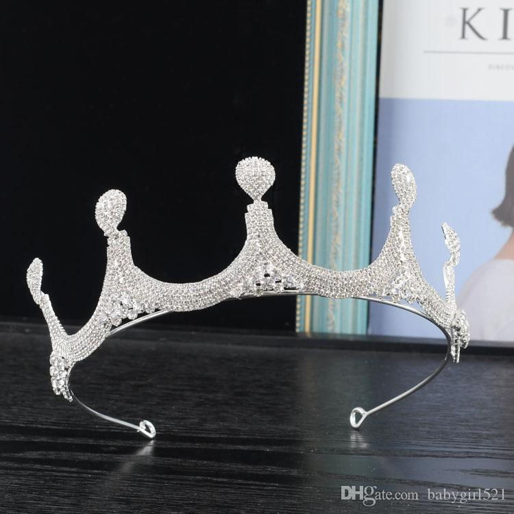 Antique Silver Queen Wedding Crowns Crystal Rhinestone Party Prom Homecoming Bridal Bling Tiaras Hair Accessories Fashion Jewelry Free Ship