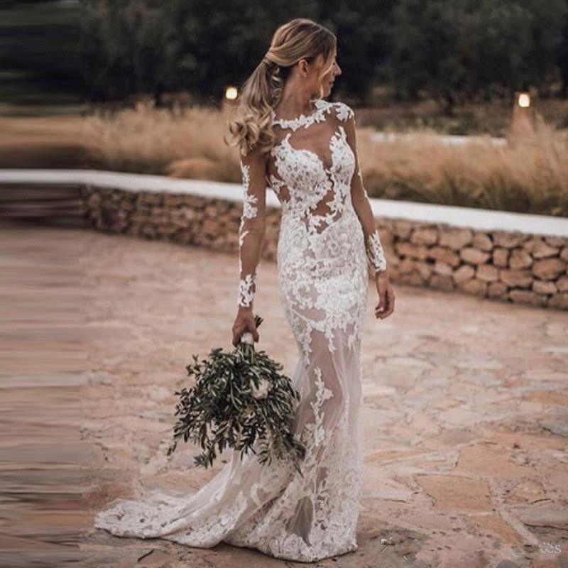 2019 Sheer Long Sleeves Lace Mermaid Wedding Dresses Tulle Applique Backless Sweep Train Arabic Bohemia Wedding Bridal Gowns Wedding Dress Patterns