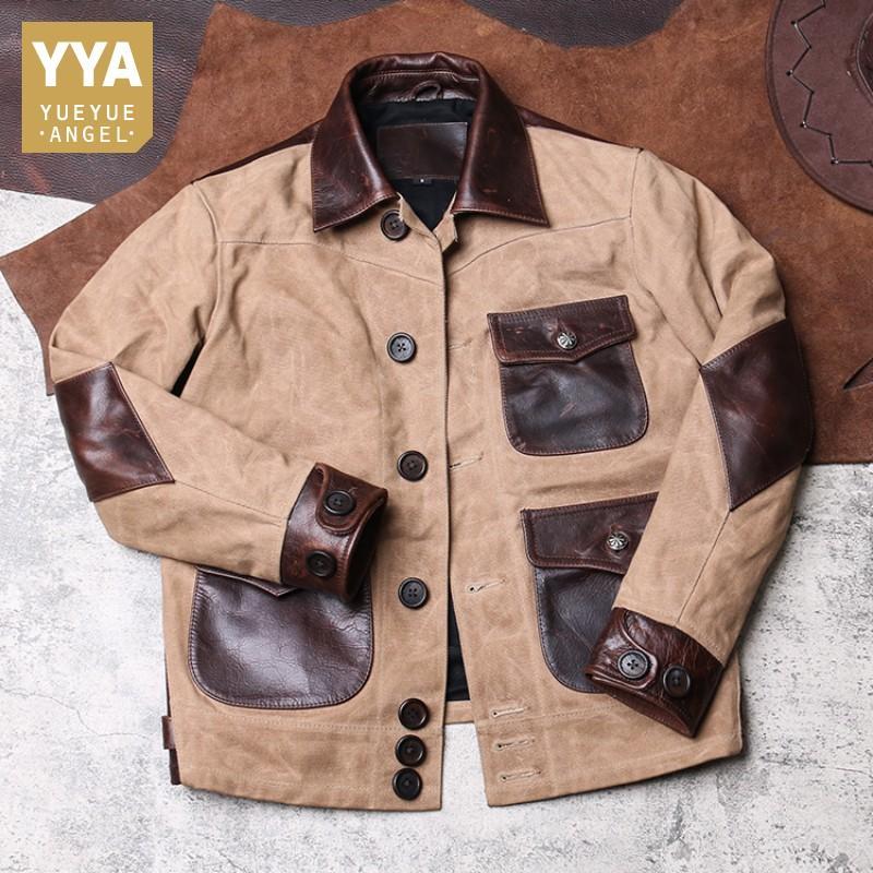 Vintage Erkek Kargo Coat Tuval Patchwork İnek Gerçek Deri Ceket Erkek Retro Safari Stil Slim Fit Kısa Dış Giyim Coat Cepler