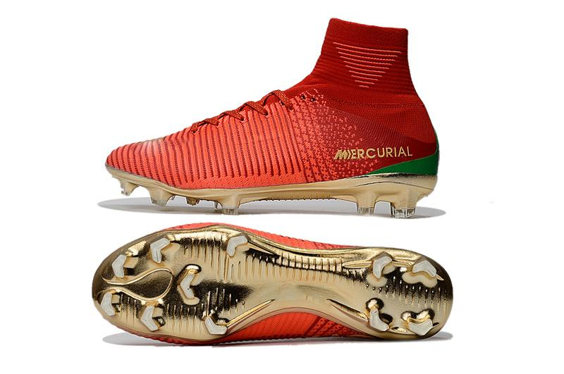 Red Gold Children Soccer Cleats Mercurial Superfly CR7 Kids Soccer Shoes High Ankle Cristiano Ronaldo Womens Football Boots