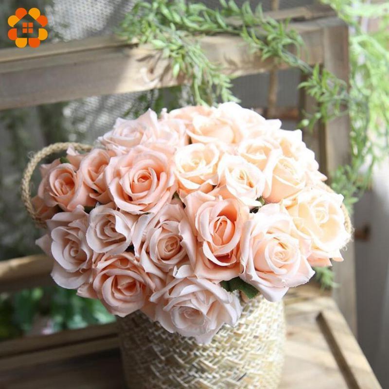 9 PCS / Bouquet DIY Fleurs Artificielles Rose Bouquet De Fleurs En Soie Rose Fleur Faveurs De Mariage Pour La Maison Jardin Décoration De Fête De Mariage
