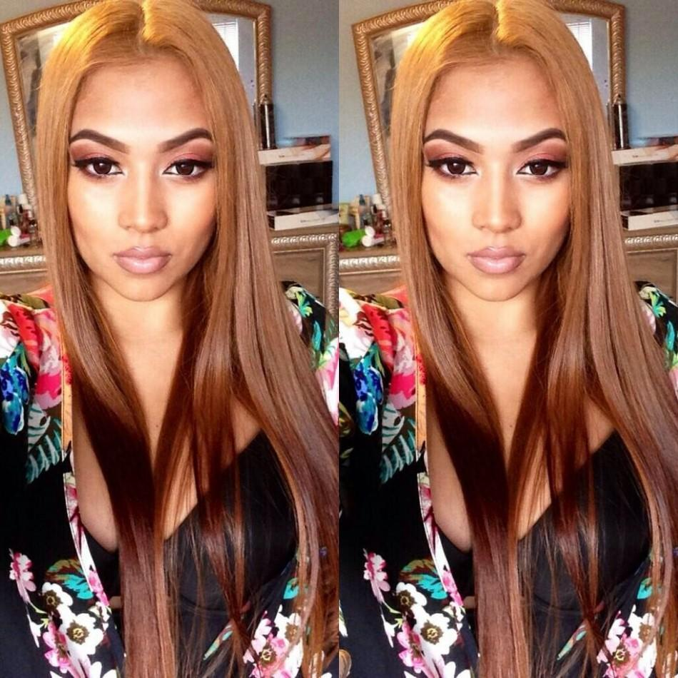 Glueless Full Lace Wigs Free Part Pre Colored 30# Peruvian Human Hair Long Straight Lace Front Wigs