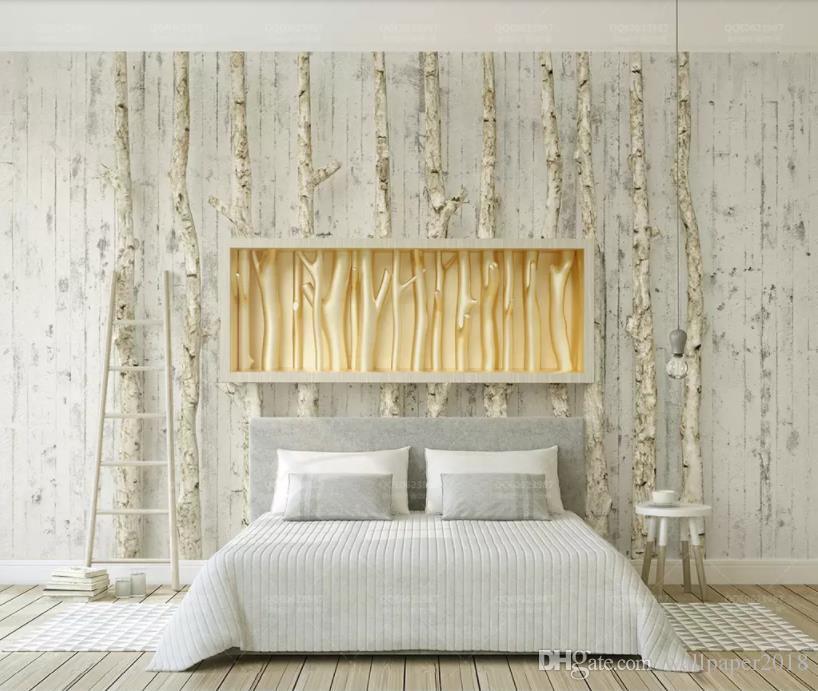 fondos de escritorio de madera de encargo del árbol de granos de oro del árbol de alivio de pared creativo del fondo de la sala de estar dormitorio televisión de fondo mural de papel pintado 3D
