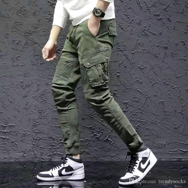 mens progettista pantaloni cargo hip hop di lusso tasche pantaloni a pieghe elastico cotone della vita degli uomini harem streetwear dell'esercito jogging Green Plus size 29-38