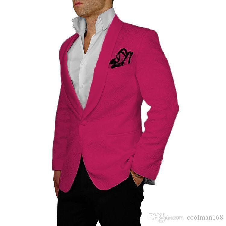 Rose red Embossing Mens Wedding Tuxedos Shawl Lapel Groom Groomsmen Tuxedos Man Blazers Jacket Excellent 2 Piece Suits(Jacket+Pants+Tie)1618