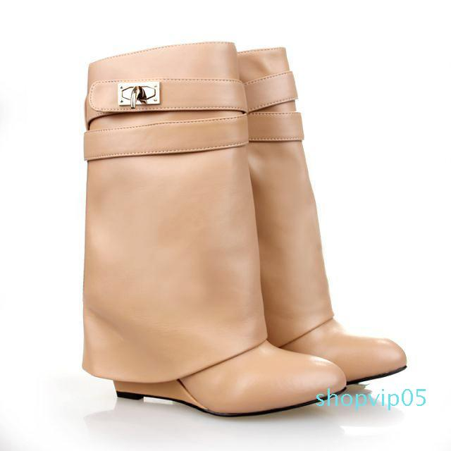 Hot Sale-2019 Design Shark Lock Ankle Boots Woman Pointed Toe Real Leather Height Increasing Wedge Mid-Calf Boots Woman Fashion Short Boots