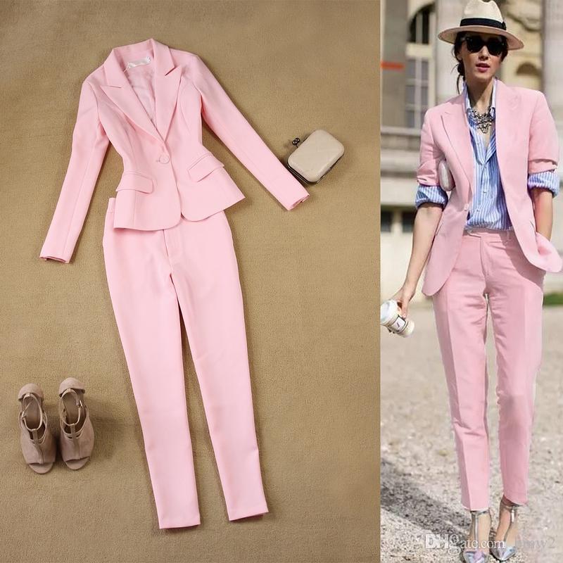 la mejor actitud daaf5 34eef Compre Blazer Con Trajes De Color Rosa Para Mujer Blazer De Dos Piezas  Blazer De Mujer Traje De Traje Ajustado A $91.46 Del Bmw2 | DHgate.Com