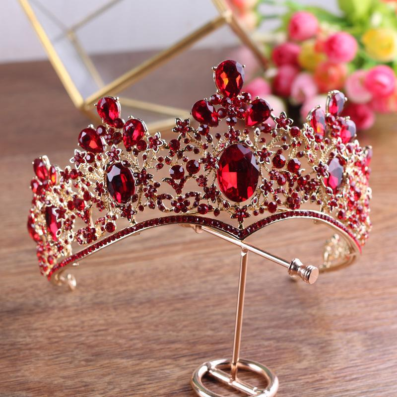 Baroque Vintage Gold Red Green Crystal Crown Wedding Tiara Rhinestone Pageant Prom Crowns Bride Headbands Women Hair Accessories C18112001
