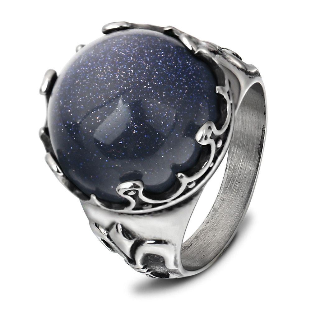 Anéis de cluster de Jóias Moda Anéis De Dedo De Aço de Titânio Homens Reais Reais Do Vintage Personalidade Azul Pedra Semi-preciosa de Aço Inoxidável LR089