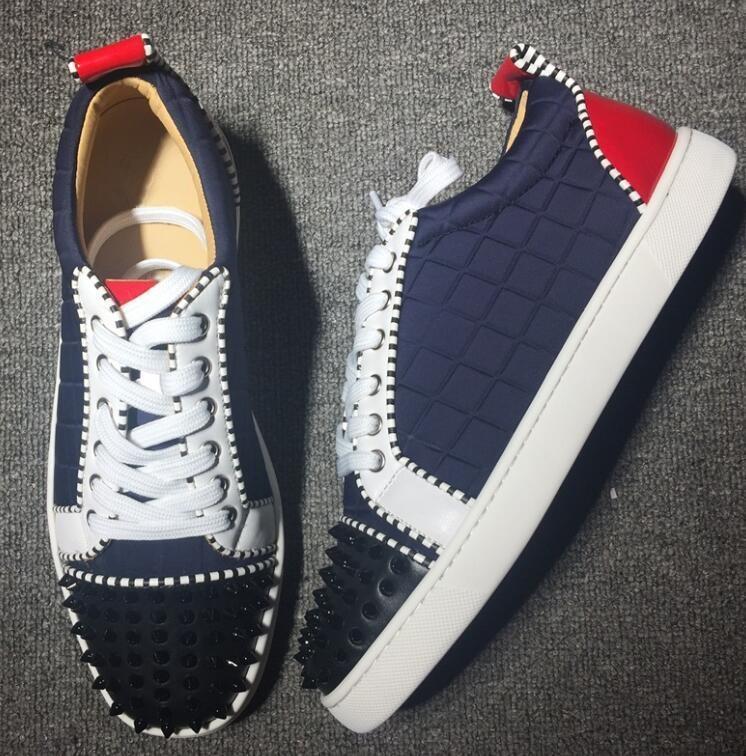 2019 Hot Vente-Top Low Cut Suede Toe Casual clouté Flats Red Shoes Bas pour les hommes et les femmes Party Designer Sneakers Famous Brand