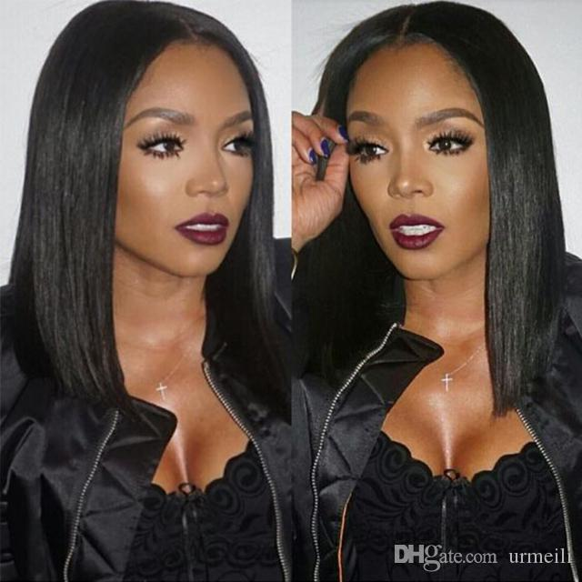 Lace Front Human Hair Wigs With Thick Bangs Peruvian Non-Remy Hair Pre Plucked Bob Wig Natural Black Lace Wig