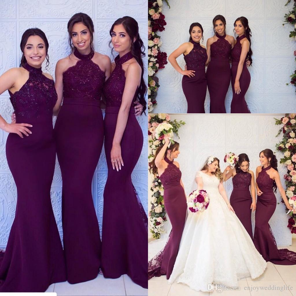 2019 새로운 포도 우아한 인어 긴 신부 들러리 드레스 섹시한 고삐 레이스 스팽글 탑 새틴 공식 하녀의 명예 가운의 결혼식을위한 싸구려