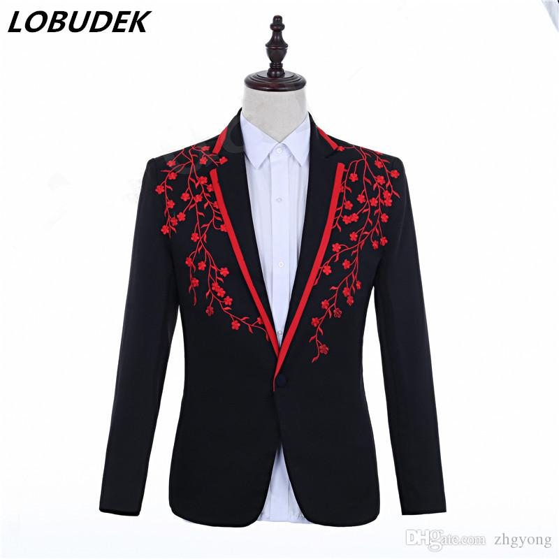 Applique Design Veste de costume formelle noir-rouge Floral Blazers chanteur hôte mariage marié robe Slim Coat Bar Costume Plus la taille S-3XL