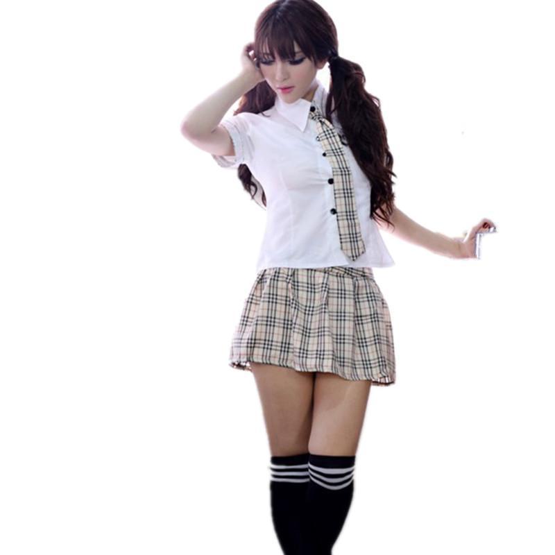 2016 Nueva Venta caliente Femenina Lencería Sexy de Encaje Patchwork Patrón Gird Sexy Estudiante Trajes Japonés Cosplay Sexy Traje de las mujeres