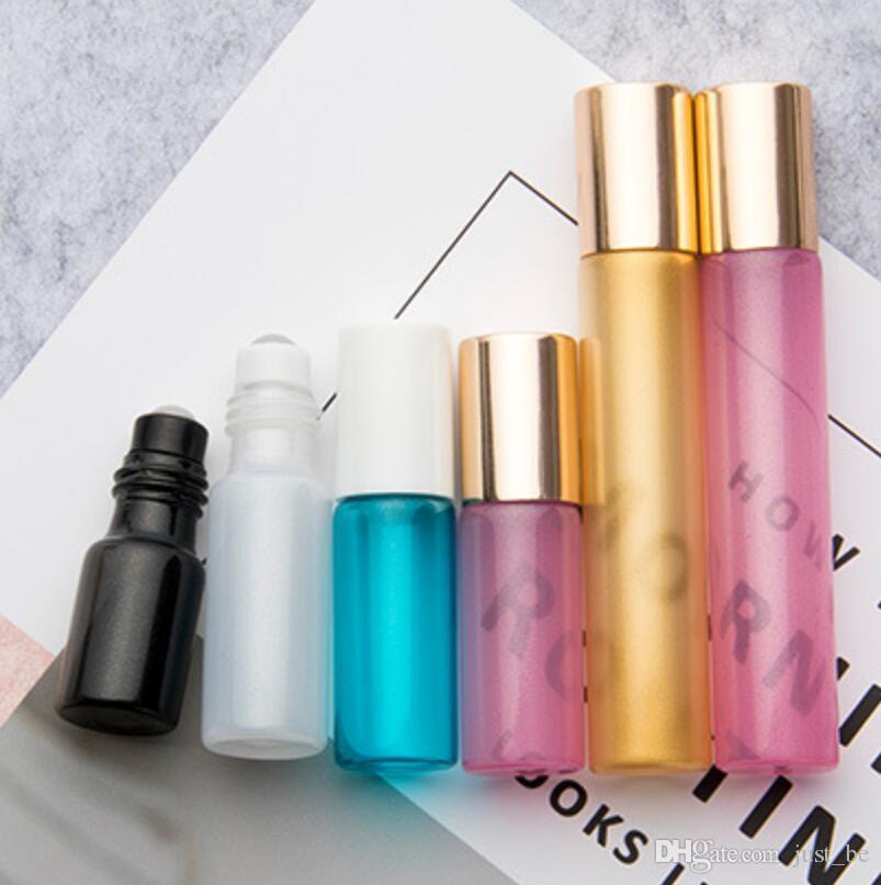 Colorful 3ml 5ml 10ml 15ml ROLL ON GLASS ESSENTIAL OIL BOTTLE Perfume stainless steel Roller ball fragrance bottle