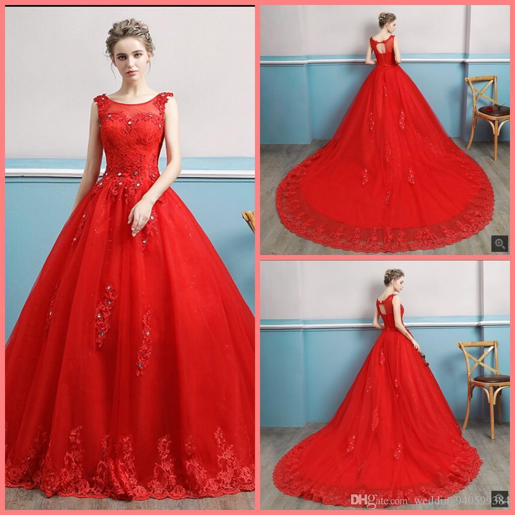 Robe de Soiree 2019 бальное платье с красными кружевными аппликациями свадебное платье с открытой спиной сексуальный корсет без рукавов бисерные свадебные платья в продаже платья невесты