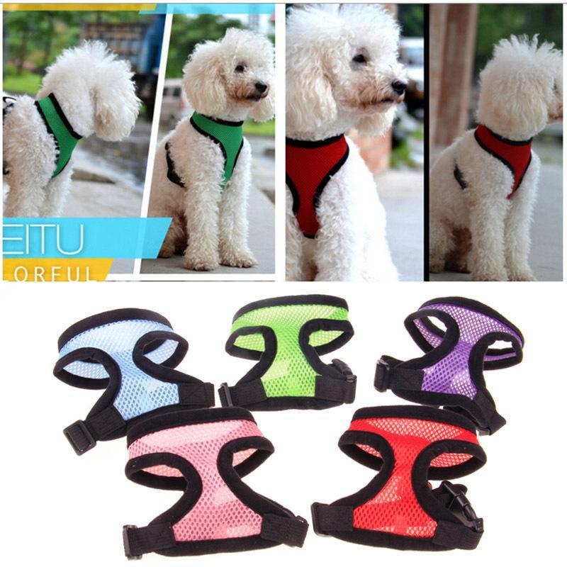 Regolabile Soft Comfort traspirante del cablaggio del cane dell'animale domestico della maglia della corda del cane toracica Guinzaglio Set Collare Leads Harness