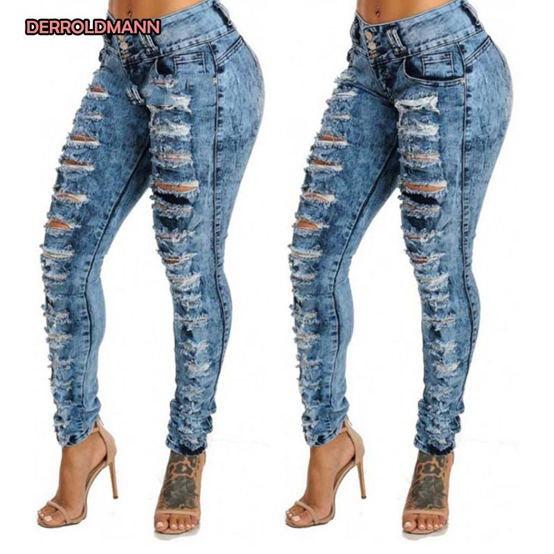Women Torn Pants High Waist Broken Jeans Ripped Denim Slim Pencil Pants Hollow Out Jeans with Button Zipper Women Denim
