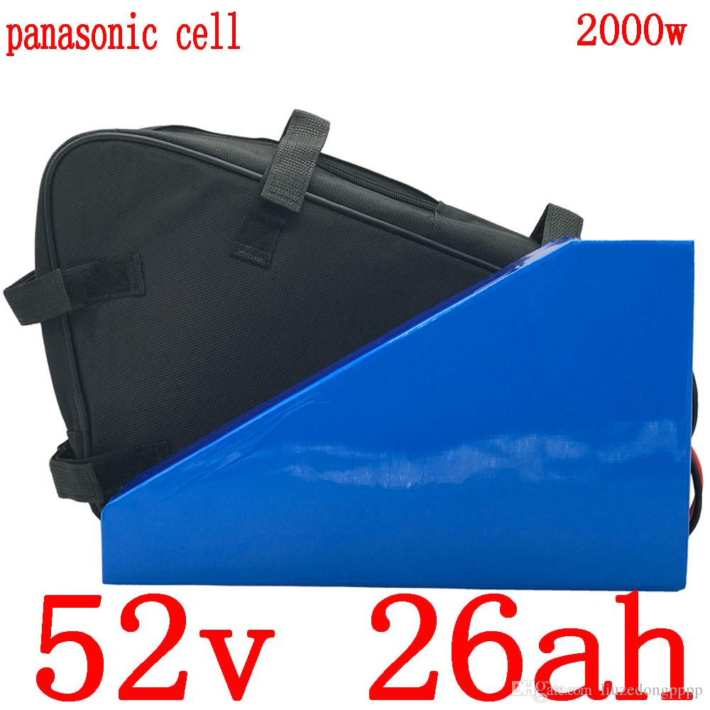 scooter eléctrico 52V 52V de litio batería de iones de bicicleta eléctrica uso de la batería Panasonic 52 móvil 1000V 2000W con cargador de batería 5A