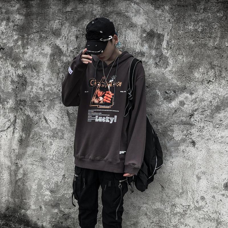 Толстовки с длинным рукавом Письмо печати Motif Свободный пуловер Hoodie Сыпучие Black Winter Мужской Хлопок XXL толстовки