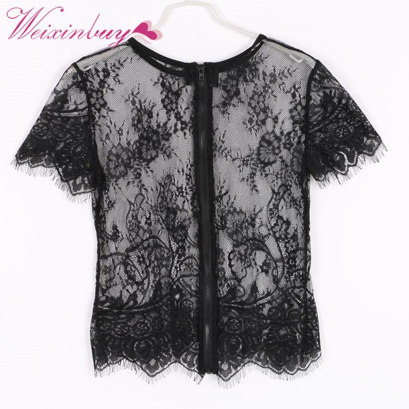 Женщины блузки рубашки сексуальные кружева Смотреть Смотреть чистая пряжа Женщины Blusas Femininas с коротким рукавом назад молния o шея винтажная блузка
